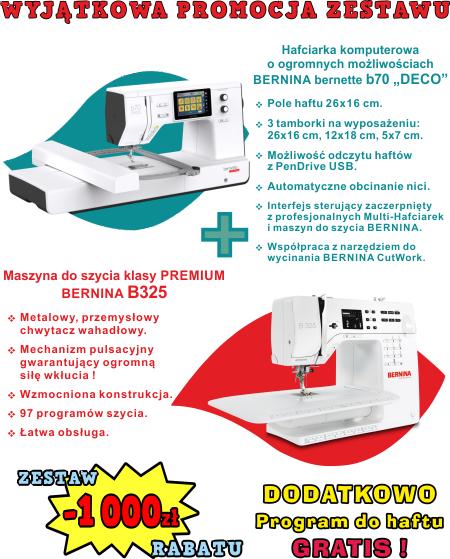"""Zestaw BERNINA bernette b70 """"Deco"""" + BERNINA B325 - Hafciarka komputerowa i maszyna do szycia PREMIUM"""